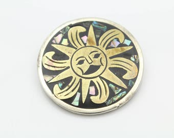 Vintage Mexican Artisan Brooch-Pendant in Abalone and Onyx Inlaid in Mixed Metals. [11632]