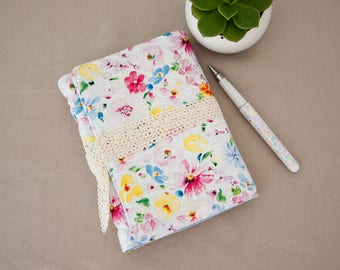 Gardening Journal - Blank Journal with Floral Fabric Cover - Gift for Gardener