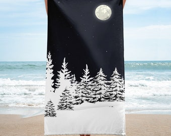 Beach Towel - Snowy Pine Trees under the moonlight