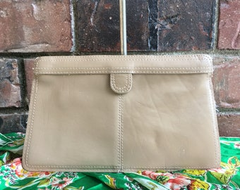 1960's Genuine Leather Taupe Magnetic Clutch