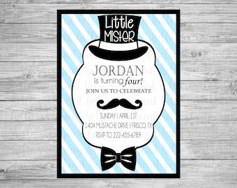 little man invitation little mister invitation mustache invitation boy birthday blue stripes top hat invitation bow tie invitation boy party