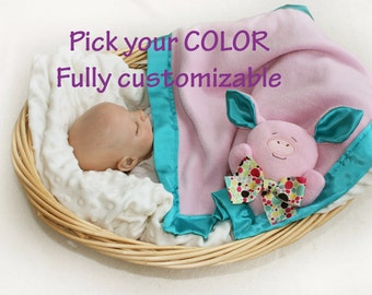 Pink Pig Security Blanket, pig baby blanket Lovey Blanket, Satin Baby Blanket, Stuffed Animal, Baby Toy farm baby - Customize Color