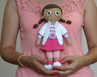 Doc McStuffins Doll, Toy for kid, Gift for Daughter, Crochet Doll