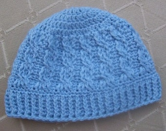 Download Now - CROCHET PATTERN Cabled Brim Beanie - Baby and Adult - Pattern PDF