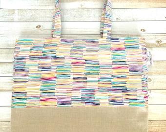 Multicolor Metallic Linen And Canvas Tote Bag, Michael Miller, Beach Bag, Work Tote, School Bag, Book Bag, Travel