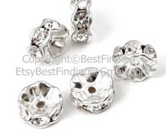 100 pcs Rhinestone rondelle spacer beads Silver Rhinestone rondelle spacer