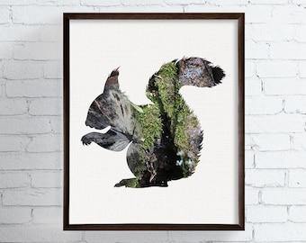 Squirrel Art Print, Squirrel Wall Decor, Woodland Art Print, Woodland Nursery Decor, Rustic Art, Animal Art, Animal Prints, Forest Animals