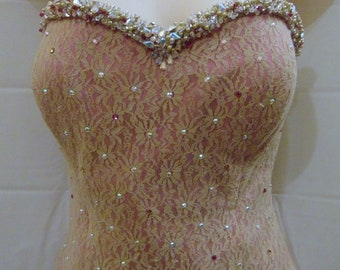 Mid century bustier top lace overlay with jeweled beige and pink Sz XS