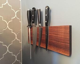 Live edge magnetic knife block