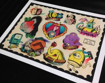 Adventure Time tattoo flash sheet