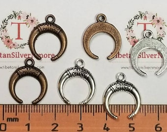 20 pcs per pack 15mm small Horn drop Charms in color to choose Lead Free Pewter