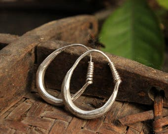 Handmade Small Hmong Earrings Hoop Loop Hill Tribe Light Silver Plate Asian Tribal Threader
