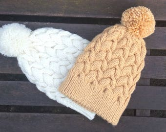 Ladies Cable Design Handknitted CAMEL Light Mustard Pom Pom Hat Beanie Medium Size Soft Chunky Cabled Knit
