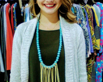 """Leather Fringe Tassel Necklace - Turquoise Wooden Beads 26"""" Hand Strung & Hand Tied, Birthday, Anniversary, Mary Lynn Savko RoadSideBoutique"""