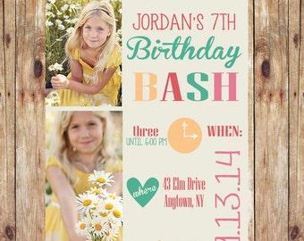 Two Photo Birthday Invitation