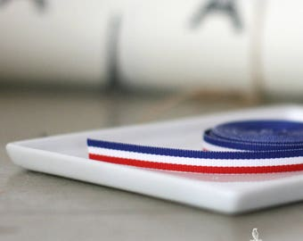 Red White and Blue striped grograin ribbon 3/8""