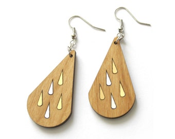 Rain drop earrings, princess jewelry, fairy style, natural wood, gold silver color inlays, wooden jewelry made in France, original design