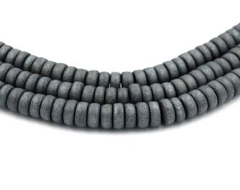 8x4mm Stormy Sky Gray Wood Rondelle Beads -16 inch strand