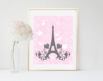 Eiffel Tower, Printable Art,  Shabby Chic, Eiffel Tower Decor, Wall Decor, Digital Download, Girls Room Decor, Pink Wall Art, Nursery Print