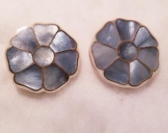 Vintage mop earrings, blue mother of pearl, m o p flower earrings, pierced flower earrings, blue flower earrings