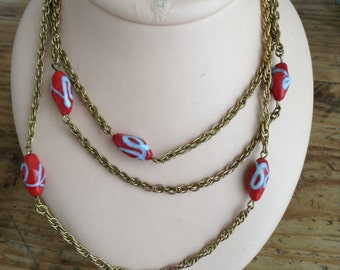 1950's red and golden necklace.