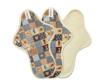 "11"" Cotton Cloth Menstrual Pads set / Cloth pad set / Cloth pads heavy / Cloth pads starter / Heavy flow - 3 Large pads (Blue patch)"