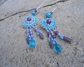 "Earrings woven beaded ""bleuines"""