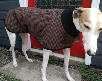 houndstooth checks in charcoal and wine...winter coat for a greyhound in vintage wool and polar fleece