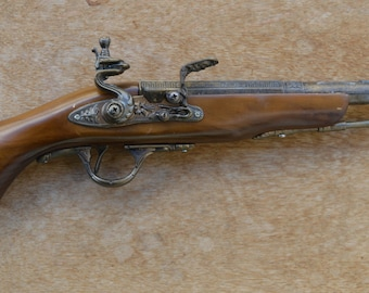 Vintage wooden, plastic,metal parts flintlock replica pistol,NOT perfect with marks and scratches