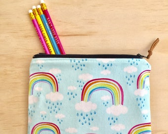 Rainbow Zippered pouch  / clutch / pencil case / purse / cosmetic bag with zip closure