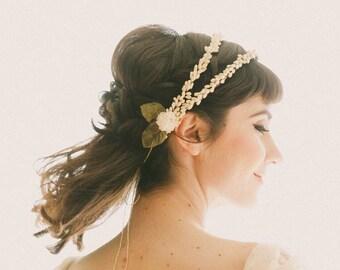Double bridal head piece, Wedding hair accessory, Vintage replica wax flower crown, Ivory flower, wedding headpiece, Antique inspired