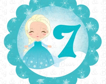 Frozen Birthday Party Shirt Elsa with Number Personalized Shirt Iron On Transfer Applique