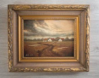 Antique Framed Painting on Board / Rustic Country Scene with Moody Clouds  / Signed Artwork