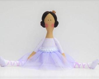 Princess doll ballerina doll rag doll, pastel lilac purple brown hair doll handmade cloth doll stuffed doll softie, rag doll ballet dancer