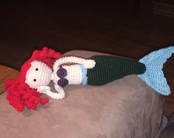 Crochet Little Mermaid Doll Toy with Flounder Friend