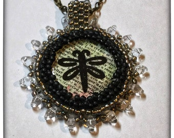 Dragonfly Bead Embroidered necklace