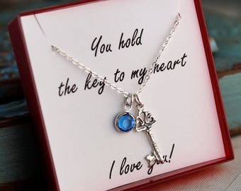 Anniversary Necklace / You hold the key to my heart necklace / Sterling Silver necklace with birthstone