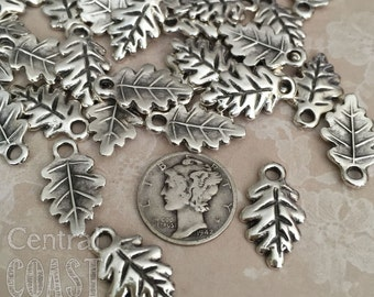 Greek Casting Oak Leaf Charm Pendant - Antique Silver Pewter - 20mm x 12mm (4) Rustic Earthy Bohemian Woodland Floral - Central Coast Charms