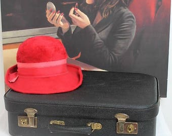 Vintage Luggage/Vintage Leather Suitcase/Black Suitcase/Shop Display/Props (Ref1893H)