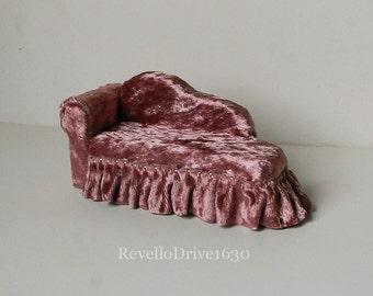 Chaise longue, velvet, choose your color, miniature dollhouse 1/12