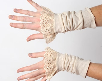 Beige jersey cuffs with lace, Beige ruffled cuffs, Romantic womens accessories, Gift idea for her, MALAM