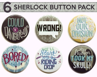 "Sherlock Buttons  | Set of Six 2"" Pinback Buttons 