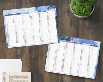 Desk calendar 2018 rigid 3mm thick and soft - blue watercolor