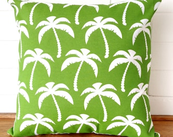 Green and White Tropical Palm Trees Outdoor Cushion Cover