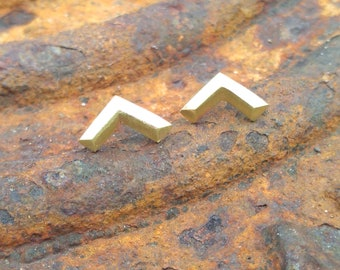 Brass Chevron faceted stud earring