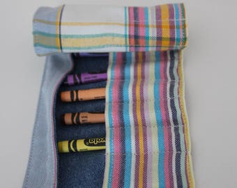 Crayon Roll, Pastel Rainbow Striped Kikoy Organizer, Take-along Crayons