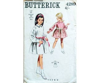 """Vintage 60's Butterick 4289 Girls Classic Peter Pan Collar Formal Party Dress Sewing Pattern Size Age 12 Chest 30"""""""