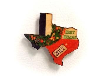 Texas Christmas Big Wreath 2017 Wooden Refrigerator Magnet