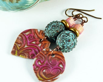 Garden Place, Pink Green Bohemian Earrings, Greek Patina Earring Charms, Rustic Tribal Jewelry, Earth Expressions Jewelry