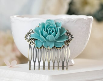 Teal Blue Rose Flower Hair Comb Teal Blue Wedding Hair Accessory Bridal Hair Comb Antiqued Brass Filigree Comb Victorian Bridesmaid Gift